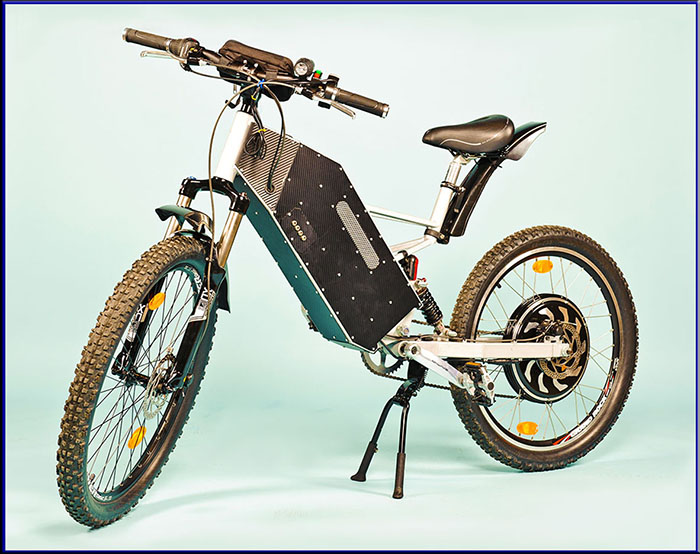 Etron AllRoad is unique, high powered, fully suspended, smart and adjustable all-terrain ELECTRIC BICYCLE. With weight only 34kg (exclude battery). Range 100km*. Costs only 0.2euro/100km. Max speed 60km/h. Universal 3D battery holder (Li-ion or Pb). Android App and PC engine(1000W) control. You can get the transport of future - electric scooter and bicycle in one.