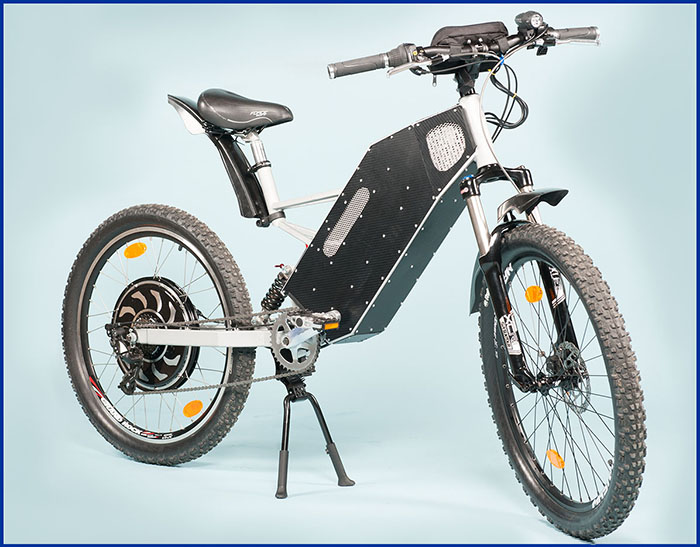 The frame can be fitted with front fork range 100 up to 200mm and rear shock absorber 160mm, 200mm or 240mm. Weight 34Kg (exclude battery).